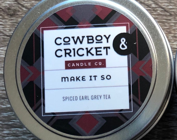 Featured listing image: Make It So - *LIMITED EDITION* - Spiced Earl Grey Tea - Handmade Scented Soy Candle - 4 oz tin with lid
