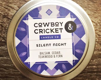 Silent Night - Deep Woods  - Handmade Scented Soy Candle - 4 oz tin with lid
