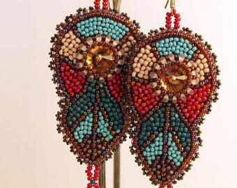 Long beaded earrings Bright jewelry Armenian handmade Swarowski cristal colorful earring turquoise earrings dangle Art Deco one of a kind