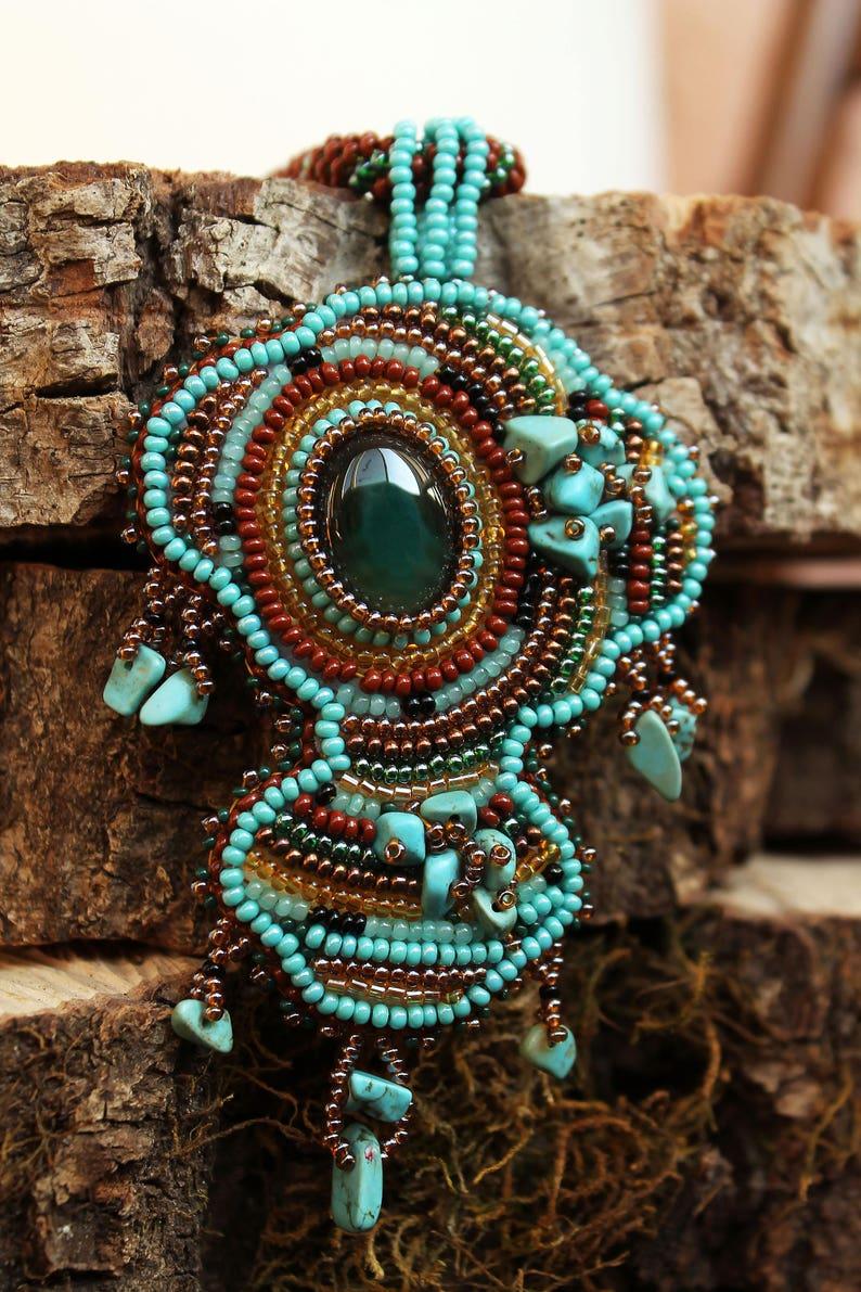 Beaded turquoise brown boho jewelry set Seed bead embroidery fringe earrings pendant Unique artisan jewelry Armenian native beadwork agate