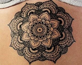 Stylish Large Black Ink Mandala Temporary Tattoo Kit - Lasts 2-3 days