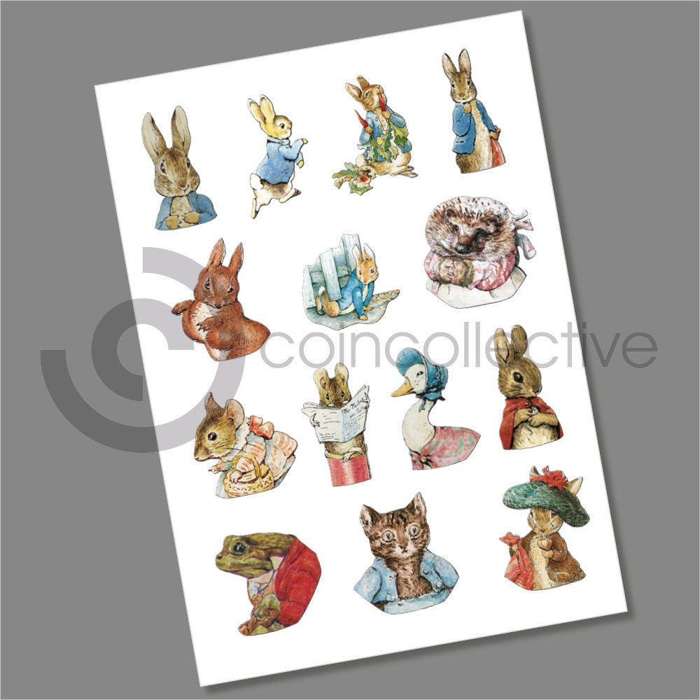 Multi Listing Beatrix Potter 50p Coin Decals Stickers Complete Collection