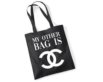 8ae7bc96a2f67 Fashion Slogan Tote Bag - My Other Bag Is  Designer  - Black or White  Novelty Shopper Bag