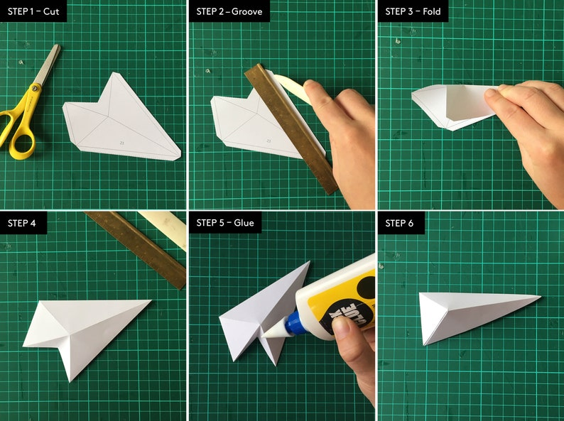 Printable pdf DIY 3D Paper Poster Paper Craft Template Papercraft RIDGES Low Poly Paper Crafting XS Origami