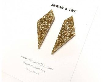 Shard earrings - glitter earrings - modern earrings - unique earrings -christmas earrings - diamond earrings - perspex earrings - geometric