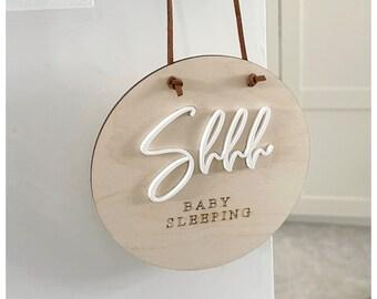 Shh baby sleeping plaque / shh baby sleeping disc / new baby door hanger / quiet please sign / new mum / newborn