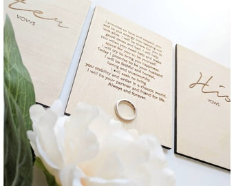 Wedding vows/ wedding keepsake/ his and her vows/ his and her keepsake/Personalised wedding vows/memorable wedding/wooden engraved keepsake