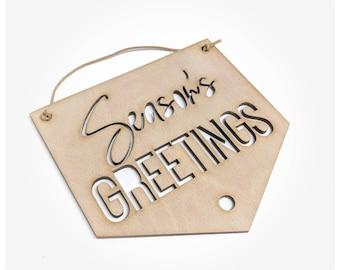 Seasons greeting Christmas wall hanging sign