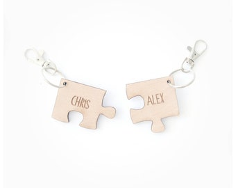 Jigsaw keyring/ couple keyring/ wooden jigsaw/custom couple keyring/ wooden jigsaw/ wood keyring/new home gift/couple gift/new home/couple