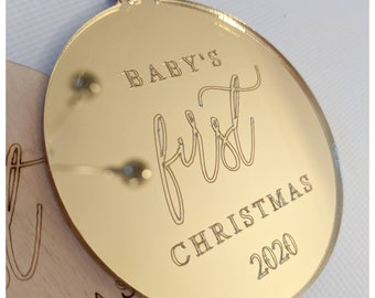 Baby's first christmas/baby's first bauble/gold bauble/ silver bauble / custom Christmas bauble/Christmas decoration/ modern Christmas