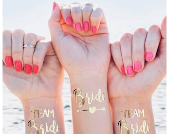 Pack of 10 Team bride temporary tattoo / hen party tattoo pack