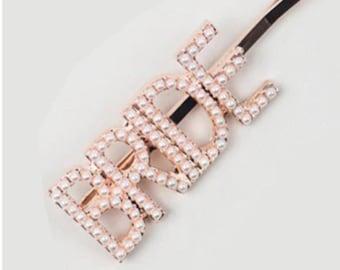 Bride pearl hair slide/ bride pearl hair clip / pearl hair clip/ bride tribe hair clip /bride to be accessories / bride accessory/ rose gold