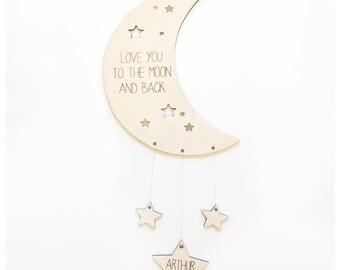 Wooden nursery mobile /moon and stars /Personalised mobile /grey nursery /Scandi decor/nursery decor /Wood mobile/nursery ideas /moon mobile