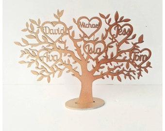 Custom wooden family tree keepsake ornament