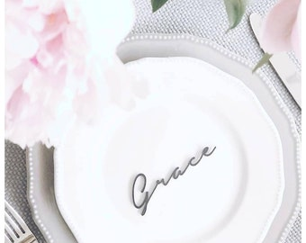 Perspex custom wedding place setting favours