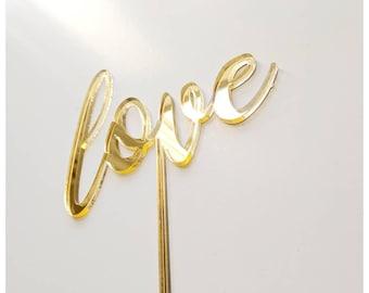 Gold mirror cake topper/ love cake topper/ Wedding cake topper /rose gold/pink glitter/gold glitter/gold mirror/ love/wedding