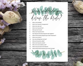 How well do you know the bride hen party game