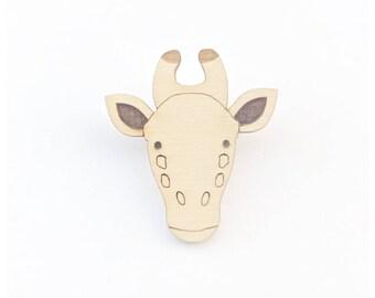 Wooden Giraffe brooch