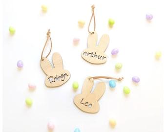 Wooden bunny keepsake bag tag