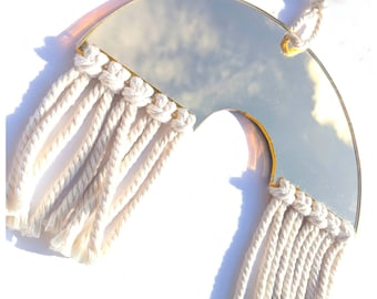 Mirror rainbow macrame wall hanging
