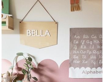 Kids wooden wall banner / nursery room decor / custom name banner / custom name plaque / nursery name plaque / children's room name plaque
