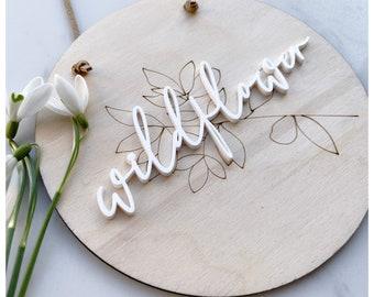 Wildflower wooden wall plaque / baby room decor / kids room decor/ children's room decor / circle flower plaque