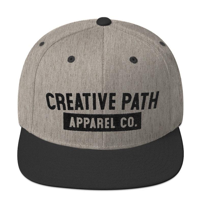 a0e67701 Creative Path Apparel Co. Brand Adjustable Size Snapback Hat High Profile  Wool Blend Flat Bill Cap