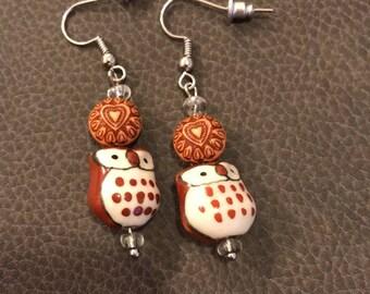 Owl with a Heart Earrings
