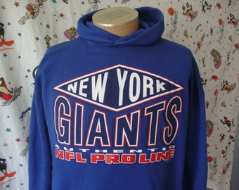 7c428728a Vintage 90 s New York Giants NFL Pro Line Russell Athletic Blue Hoodie  Sweatshirt Size XL