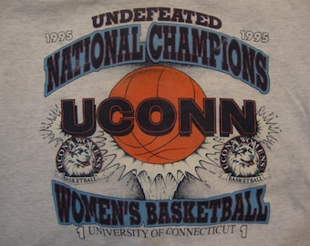58aa674b109 Vintage 90 s NCAA UCONN University Of Connecticut Basketball National  Champions 1995 T Shirt Size M