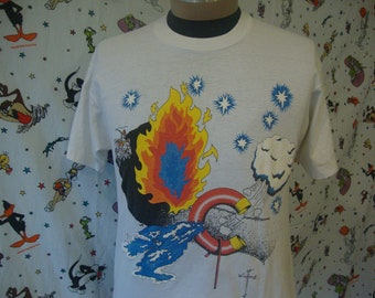 5f08a36b47c Vintage 80 s Winter Fire   Ice Compass Clouds Wizard Magic Fantasy Hippie T  Shirt Size L