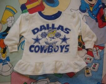 Vintage 90 s NFL Dallas Cowboys Cheerleader Dress long sleeve sweatshirt T  shirt Toddler Baby Size 3T 931e9a31a