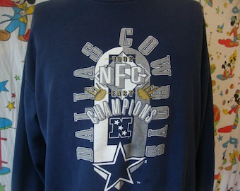 Vintage 90 s Dallas Cowboys Nutmeg Mills 1992 NFC East Champions Navy Blue  NFL Crew Neck Sweatshirt Sz XL cb9272f76