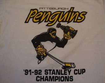 3e8ed879b Vintage 90 s NHL Pittsburgh Penguins Hockey 1991 1992 Stanley Cup Champions  Sports White T Shirt Size L