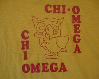 a03a2046918 Vintage 80 s Chi Omega College Sorority Owl Logo Yellow T Shirt Size S