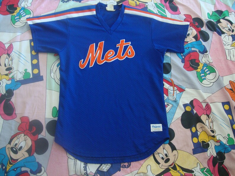 low priced a37f9 aee15 Vintage 80's New York Mets Majestic Sewn V Neck Jersey Size L