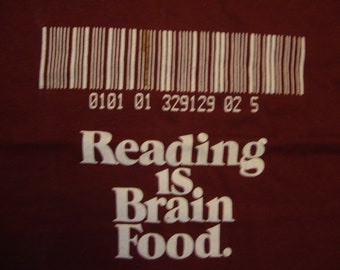 Vintage 80's Reading Is Brain Food Bar Code Red T Shirt Size M