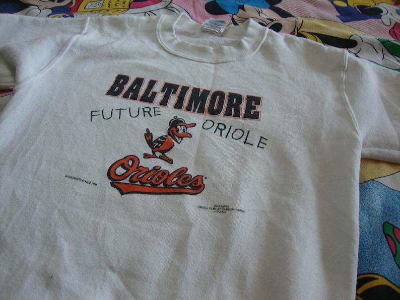 Vintage 90/'s Baltimore Orioles Future Oriole White Crew Neck Sweatshirt Kids Youth size 14-16