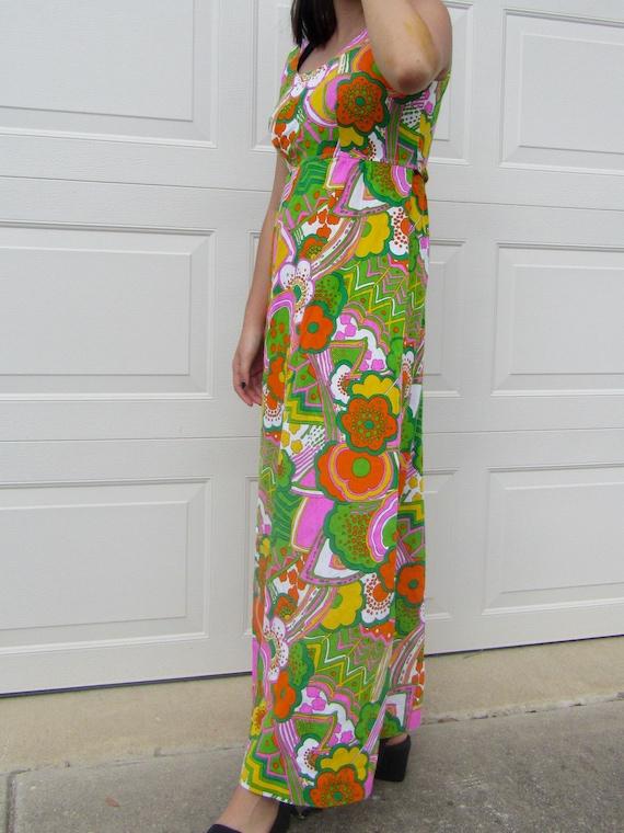 Vintage 60's Mayi Dress Pop Color Pattern - image 3