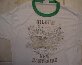 Vintage 80's Gilsum New Hampshire Tourist Souvenir Ringer Paper Thin T Shirt Size L