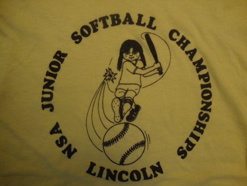 Vintage 80's Lincoln NSA Junior Softball Championships Yellow Paper Thin T  Shirt Size L