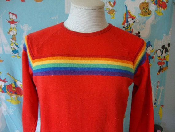 Vintage 80's Rainbow Stripe Red Soft Thin Sweatshi