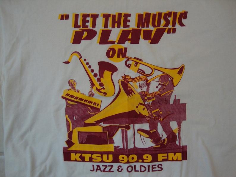 Vintage 90's KTSU 90 9 FM Jazz & Oldies Radio Station White T Shirt Size XL