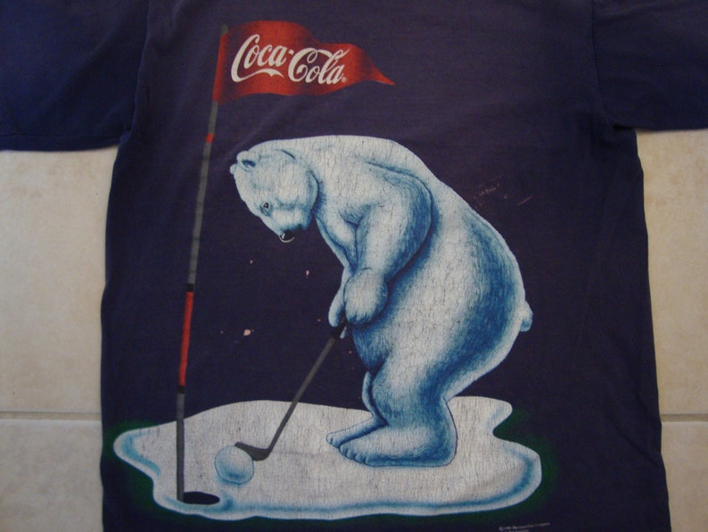 102a2e98 Vintage 90's Coca-Cola T Shirt Size L Polar Bear Golf Soft   Etsy