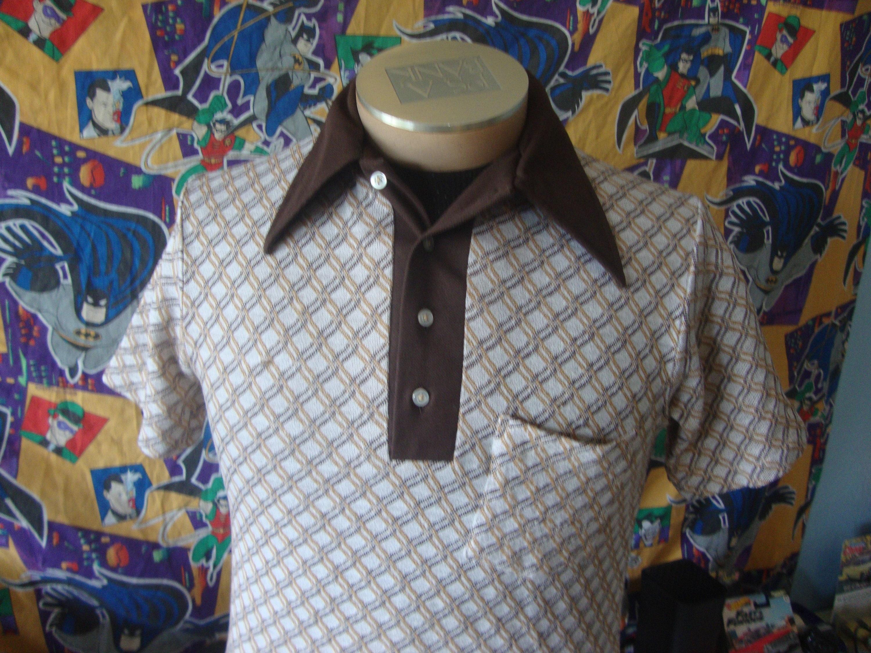1970s Mens Shirt Styles – Vintage 70s Shirts for Guys Vintage 70s Grant Mates Big Collar Disco Era 1970s Button Down Short Sleeve Dress Polo Shirt Mens Size M $24.99 AT vintagedancer.com