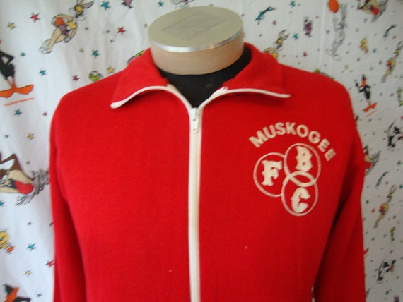 Vintage Champion Blue Bar Tag Muskogee Red Zip Up