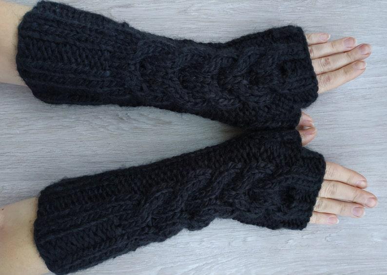 b09afc564a6 Black chunky long fingerless gloves winter mittens knit hand