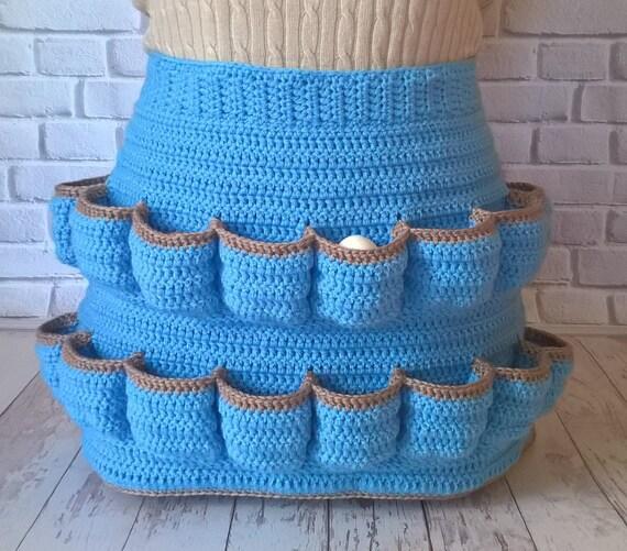 homesteing apron Egg-cellent apron crochet egg gathering apron farm apron egg collecting apron adjustable egg pockets apron