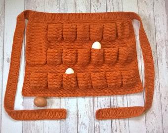 Egg cellent apron, crochet egg gathering apron, adjustable, egg collecting apron, egg pockets apron, homesteing apron, farm apron