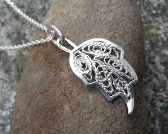 Filigree leaf pendant, floral pendant, leaf charm silver leaf, sterling silver wedding, engagement pendant, bridesmaid necklace gift